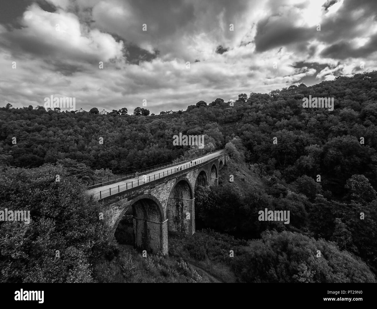 Bakewell, Derbyshire Peak District National Park, the Monsal Trail, Headstone Viaduct, Image 31, Aerial Landscape - Stock Image
