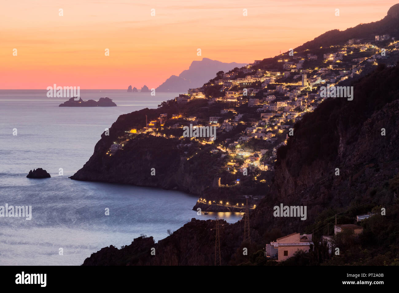 Praiano at dusk from Conca dei Marini, Salerno province, Campania, Italy, Europe - Stock Image