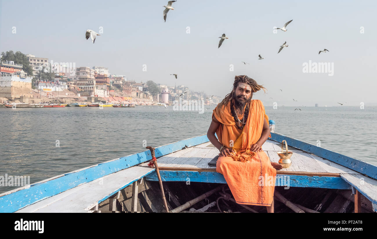 A sadhu in Varanasi,India. - Stock Image
