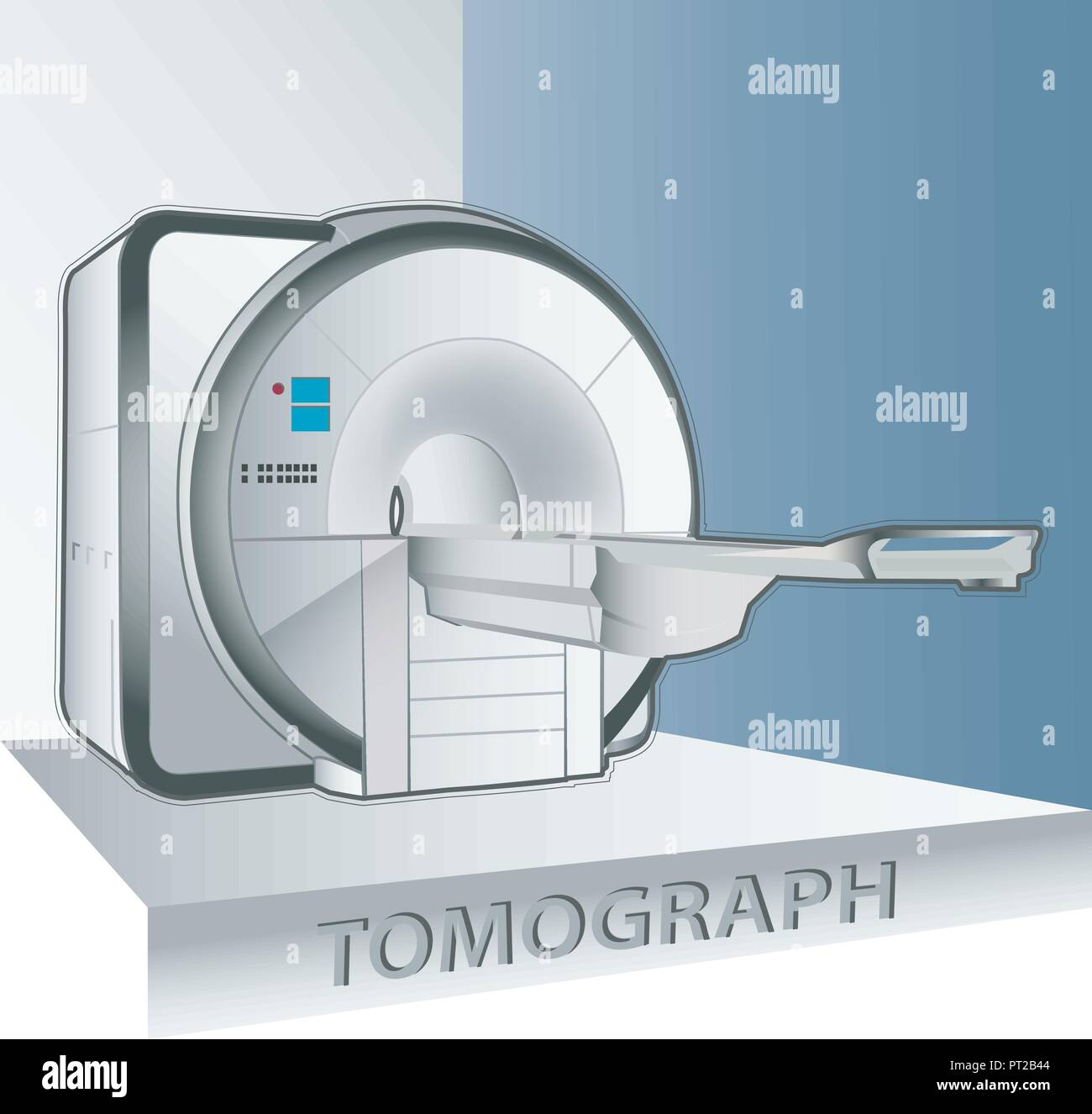tomography scanner machine with patient and doctor - Stock Image