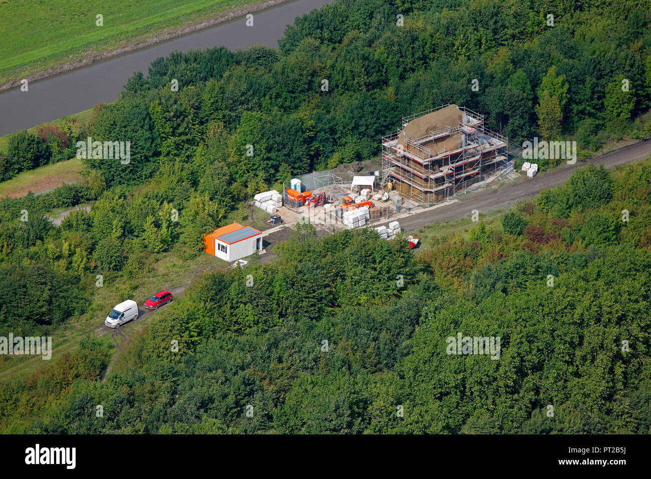 Aerial view, Emscher, Art, Olaf Nicolai and Douglas Gordon with Mogwai Monument for a forgotten future, Stone, Wild Island, lock, Gelsenkirchen, Emscherkunst.2010, Artworks at the Emscher, Ruhr area, North Rhine-Westphalia, Germany, Europe, - Stock Image
