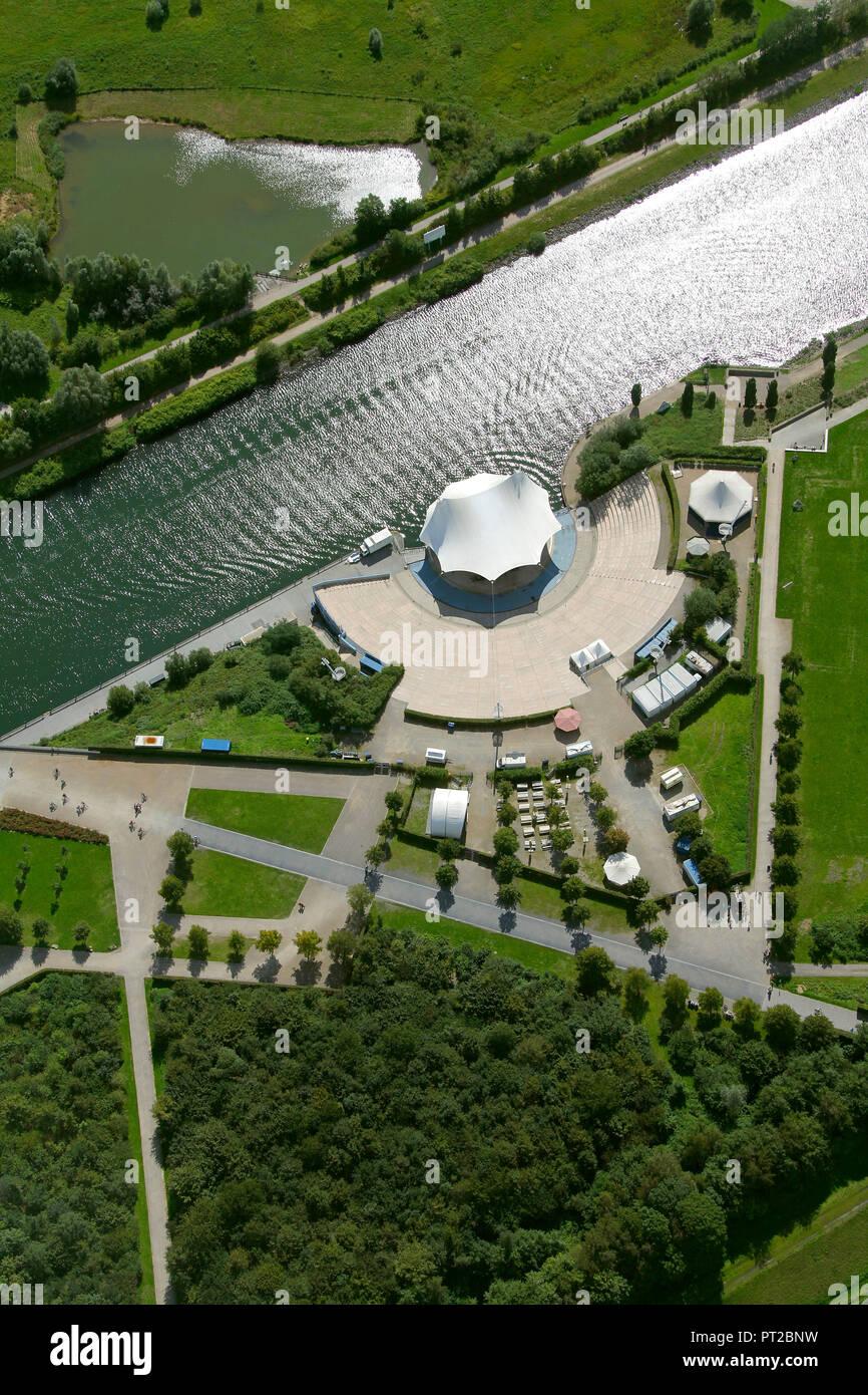Aerial view, Emscher Art, N55 Ion Sørvin Ingvil H. Aarbakke, Walking House, Emscher Island, Nordsternpark Gelsenkirchen, Gelsenkirchen, Ruhr Area, North Rhine-Westphalia, Germany, Europe, - Stock Image