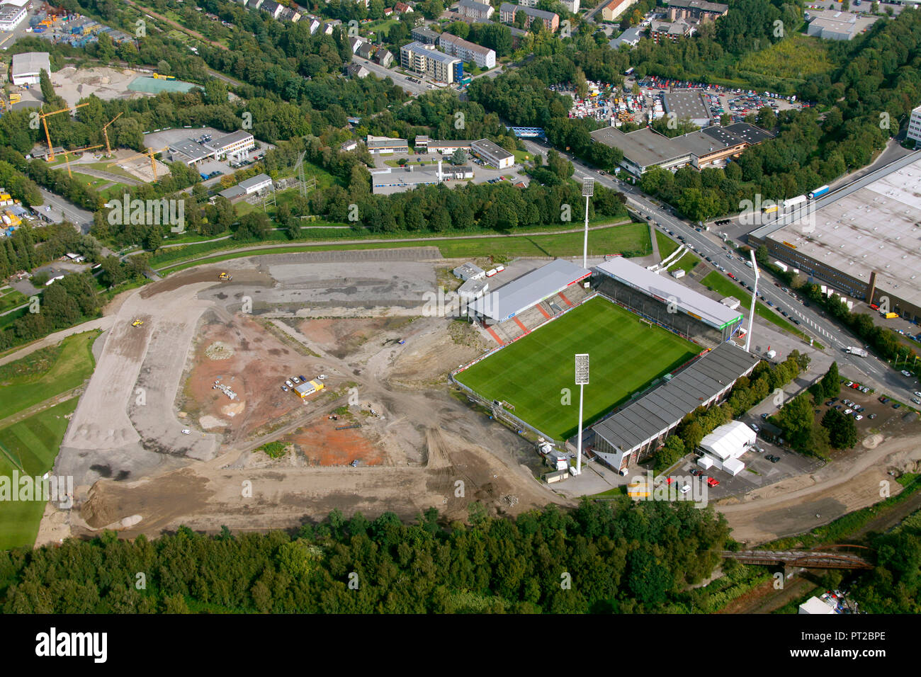 Aerial view, RWO stadium Rot Weiss Essen Hafenstraße, Essen, Ruhr area, North Rhine-Westphalia, Germany, Europe - Stock Image