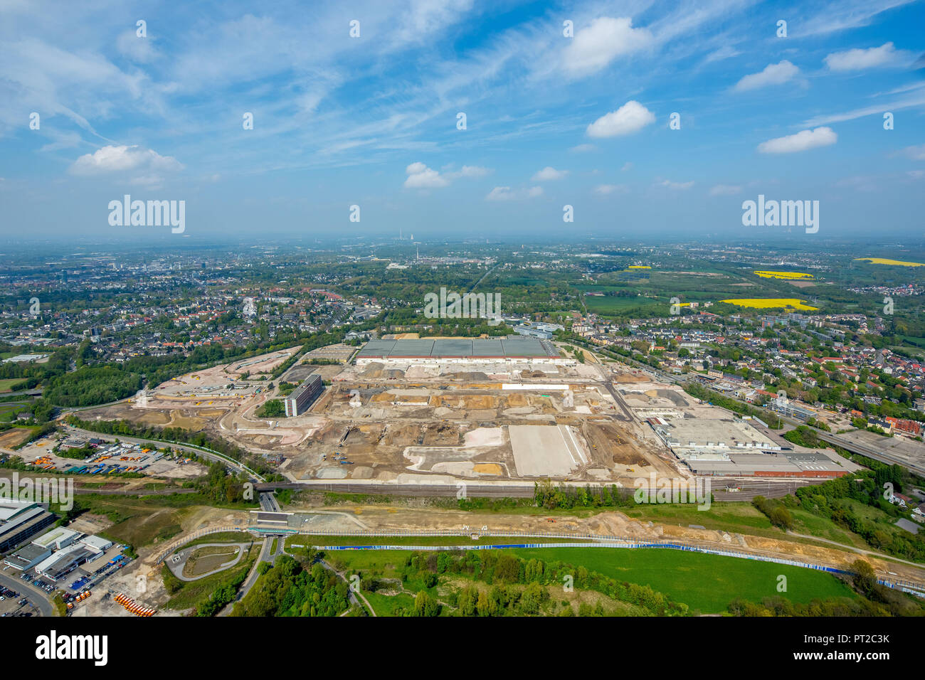 Fallow OPEL plant 1, demolition of the southern factory halls, OPEL administration building, Bochum, Ruhr area, North Rhine-Westphalia, Germany, Europe, - Stock Image