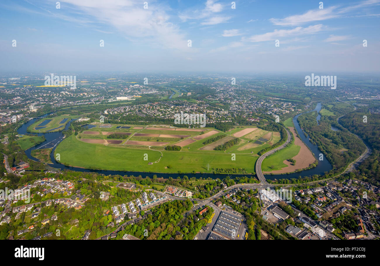 Ruhr peninsula Überruhr, Ruhrbogen, Ruhr Valley, Ruhr, Essen, Ruhr Area, North Rhine-Westphalia, Germany, Europe - Stock Image