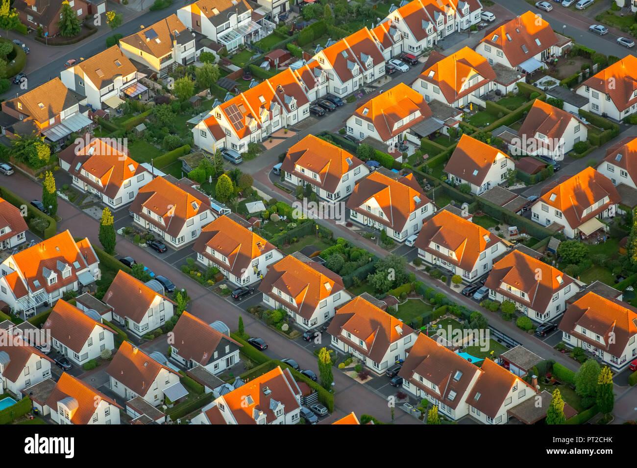 Housing estate Weidenweg, semi-detached houses, residential property, red tiled roofs, Bergkamen, Ruhr area, North Rhine-Westphalia, Germany, Europe - Stock Image