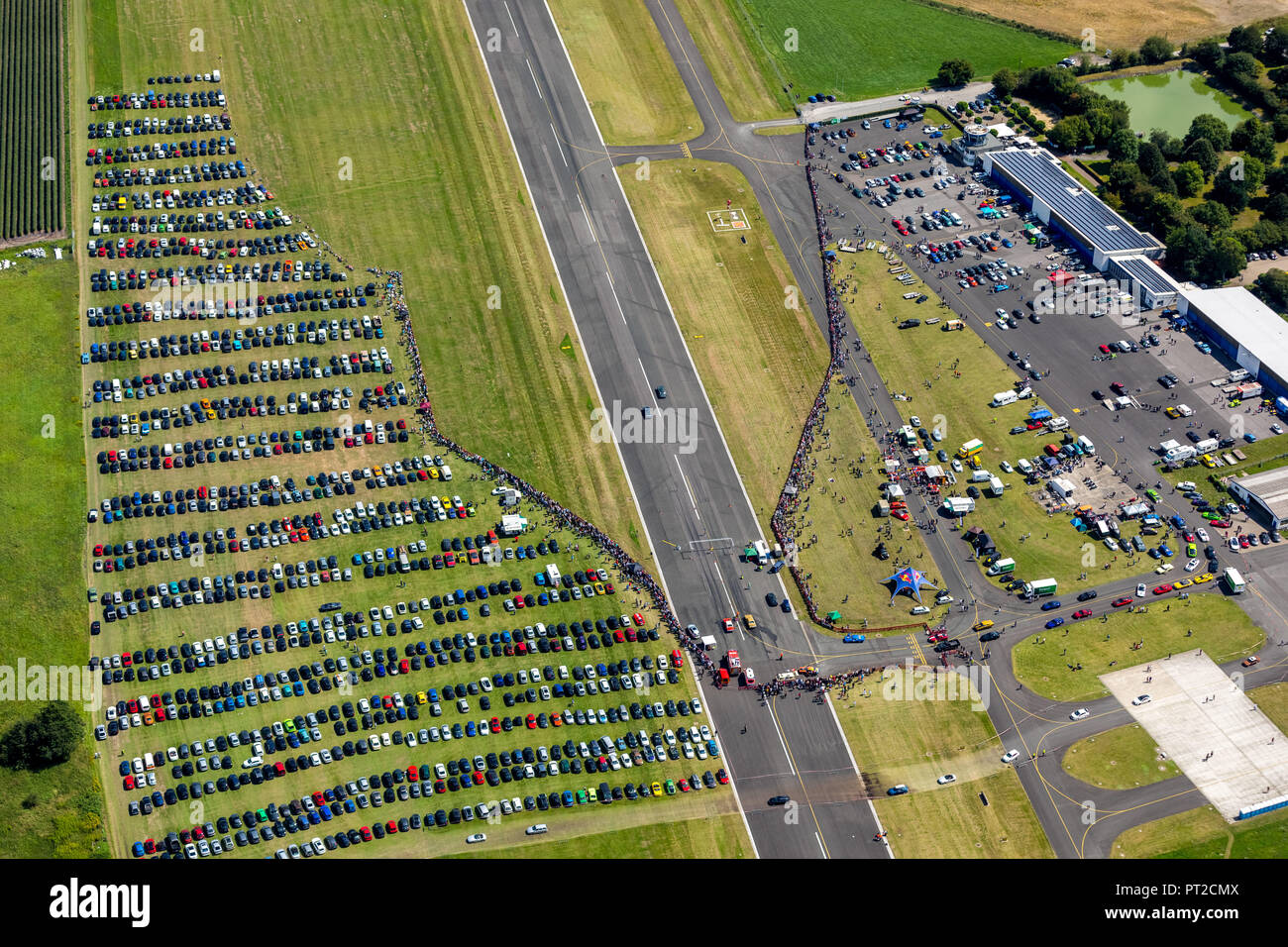 Bottrop, race at airport, airfield Schwarze Heide, 1/4 mile race, acceleration race, car racing on the runway, Ruhr area, North Rhine-Westphalia, Germany - Stock Image