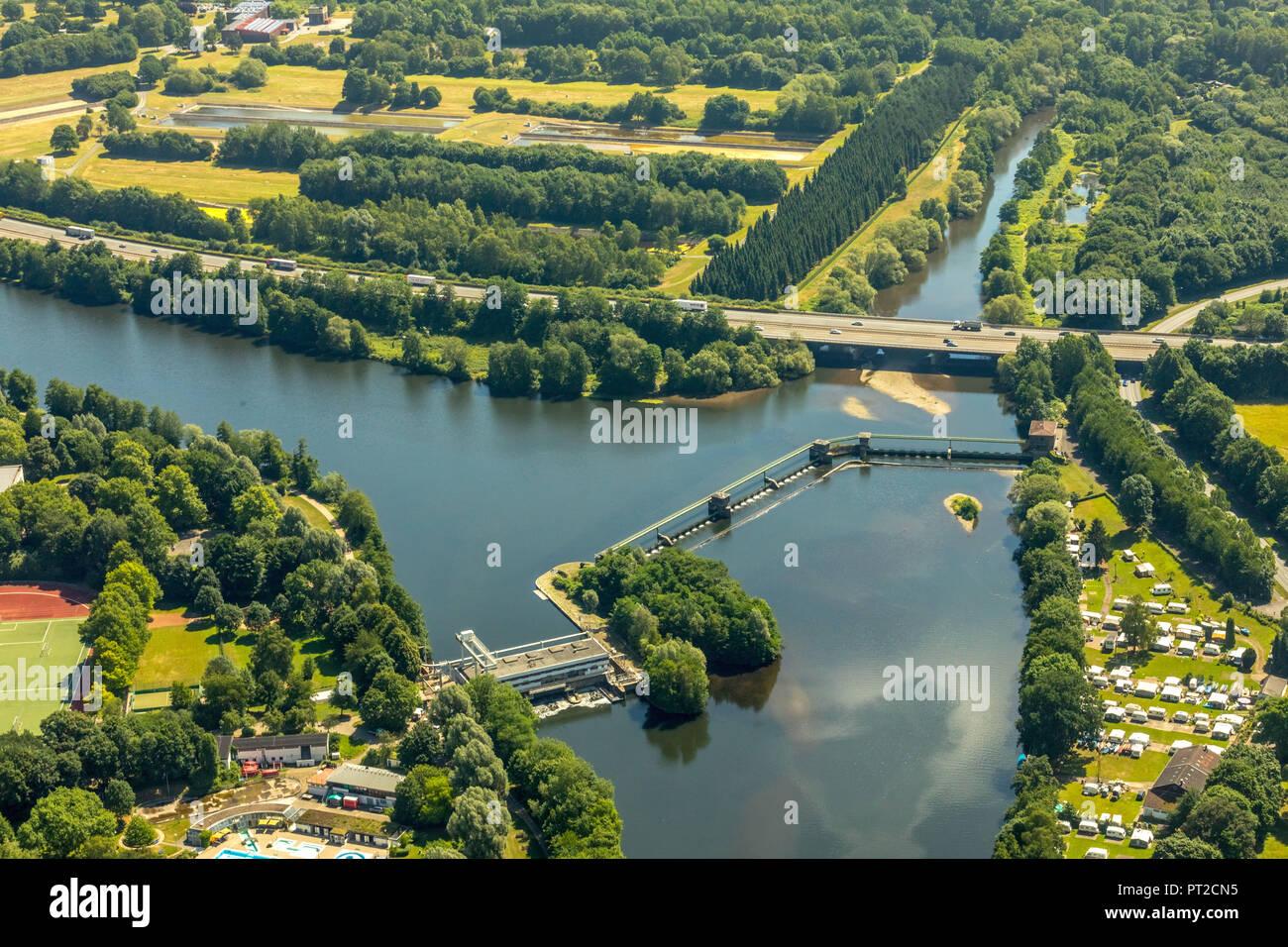 Bleichstein and Volme estuary, Ruhr, Ruhr valley, Herdecke, Ruhr area, North Rhine-Westphalia, Germany - Stock Image
