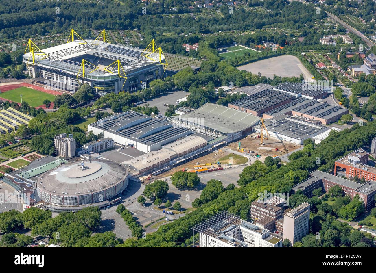 Messe Westfalenhallen Dortmund - Entrance Messe West, reconstruction work, near Westfalen Stadium, SignalIdunaPark, Westfalenhalle, Dortmund, Ruhr area, North Rhine-Westphalia, Germany - Stock Image