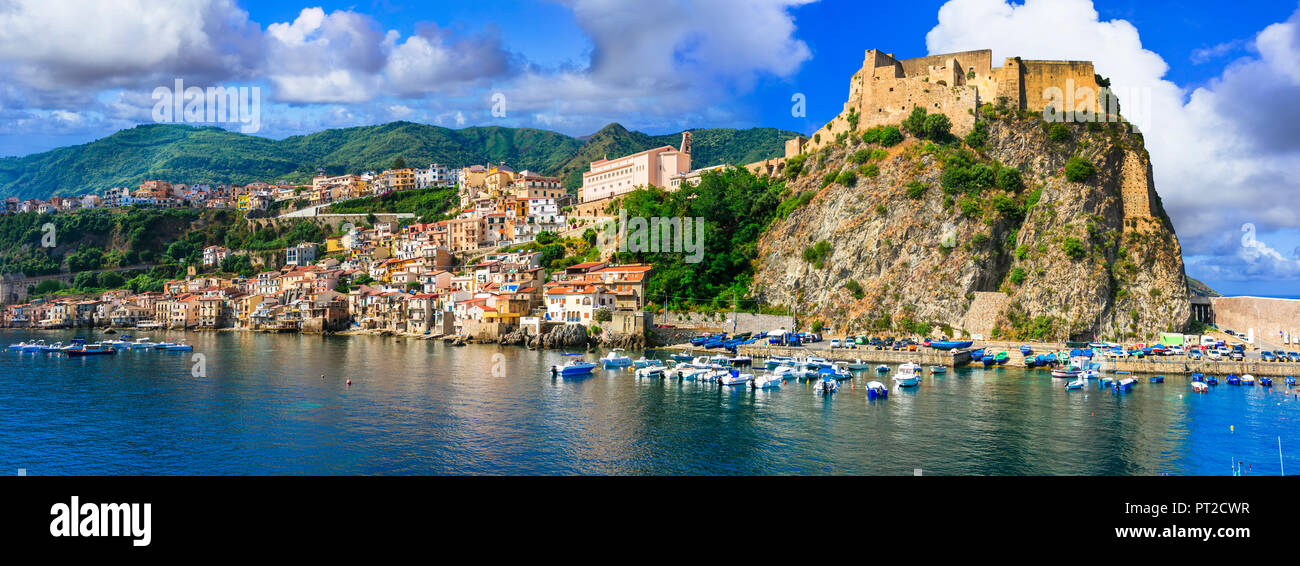 Beautiful Scilla village ,view with old castle,houses and sea,Calabria,Italy. - Stock Image