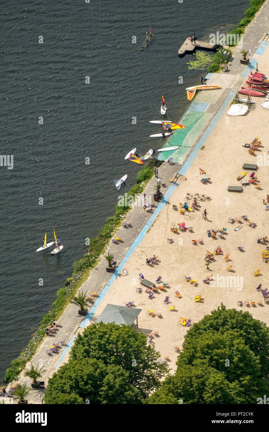 Seaside Beach Baldeney, bathing in the Ruhr, bathing in the Baldeneysee, lido, Beach Volleyball, Climbing, Sandy Beach, Cross-Fit, Football, Hot Rod, Canoe, Miniature Golf, Segway, Windsurfing, Essen, Ruhr Area, North Rhine-Westphalia, Germany - Stock Image