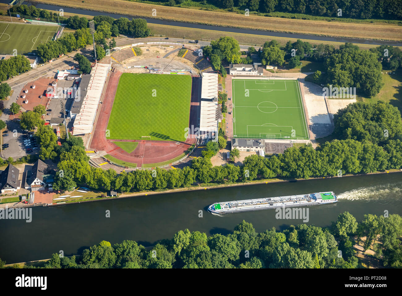 Stadium Niederrhein, new north tribune, sports and leisure complex SSB, Emscher area north of the stadium, Oberhausen, Ruhr area, North Rhine-Westphalia, Germany - Stock Image