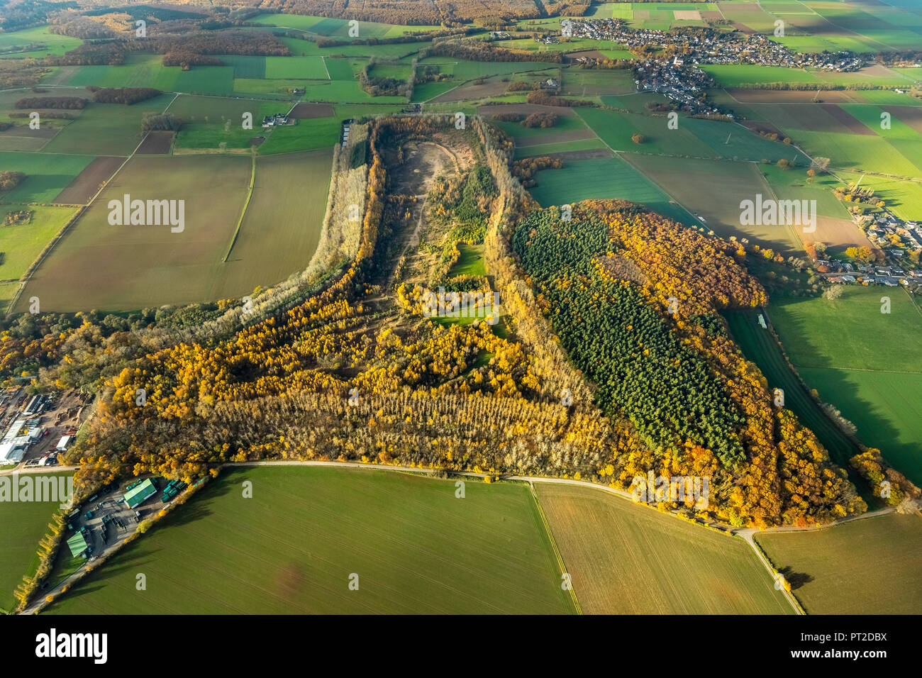Spoil tip Beythal, Hürtgenwald, nature reserve, Düren in the district Berzbuir-Kufferath, former settling tank of ore processing, leachate containing heavy metals, Association for land recycling and remediation AVV, Düren, Rhineland, North Rhine-Westphalia, Germany - Stock Image