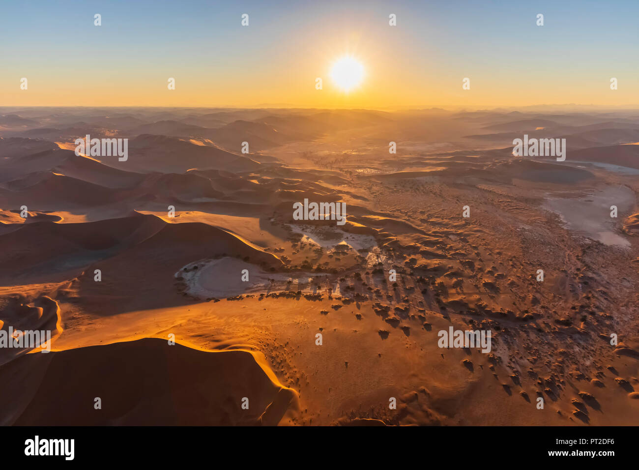 Africa, Namibia, Namib desert, Namib-Naukluft National Park, Aerial view of desert dunes, Nara Vlei, Sossusvlei and 'Big Mama' Stock Photo