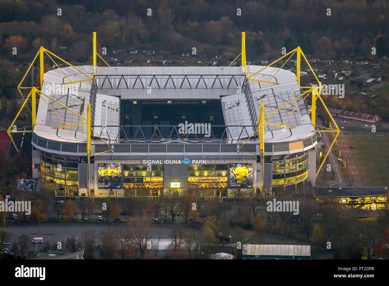 SignalIdunaPark, BVB Stadium, Westfalenstadion at dusk, night shot, lights, Dortmund, Ruhr area, North Rhine-Westphalia, Germany - Stock Image