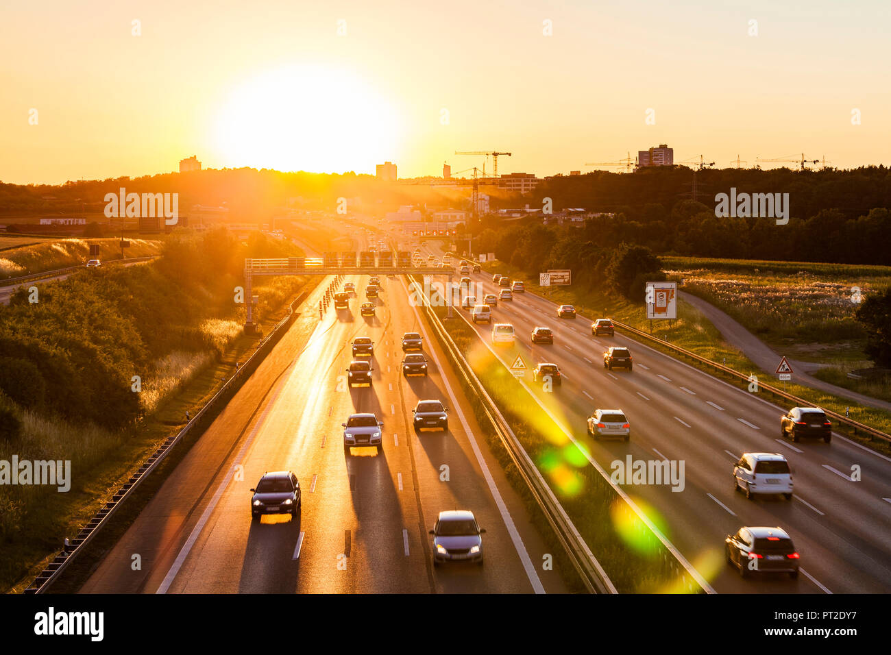 Germany, Baden-Wuerttemberg, Stuttgart, Autobahn A8 in the evening - Stock Image