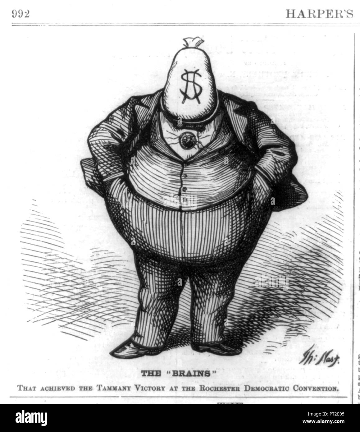 WILLIAM TWEED (1823-1878) American Democratic politician as drawn by Thomas Nast in Harper's Weekly 21 October 1871 - Stock Image