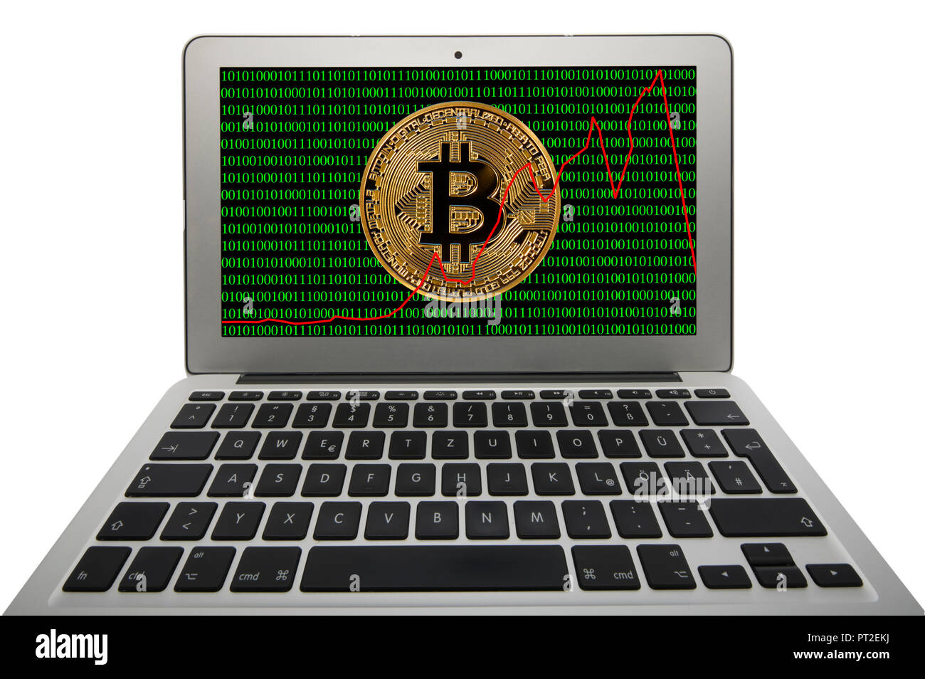 Symbol image of turbulence, volatility, stock price digital currency, golden physical coin Bitcoin laptop with digital binary code - Stock Image