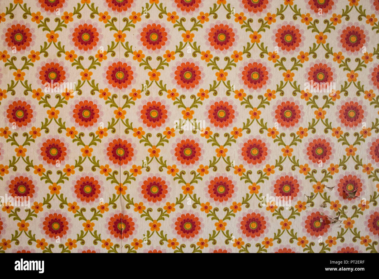 old wallpaper with floral pattern vintage stock image