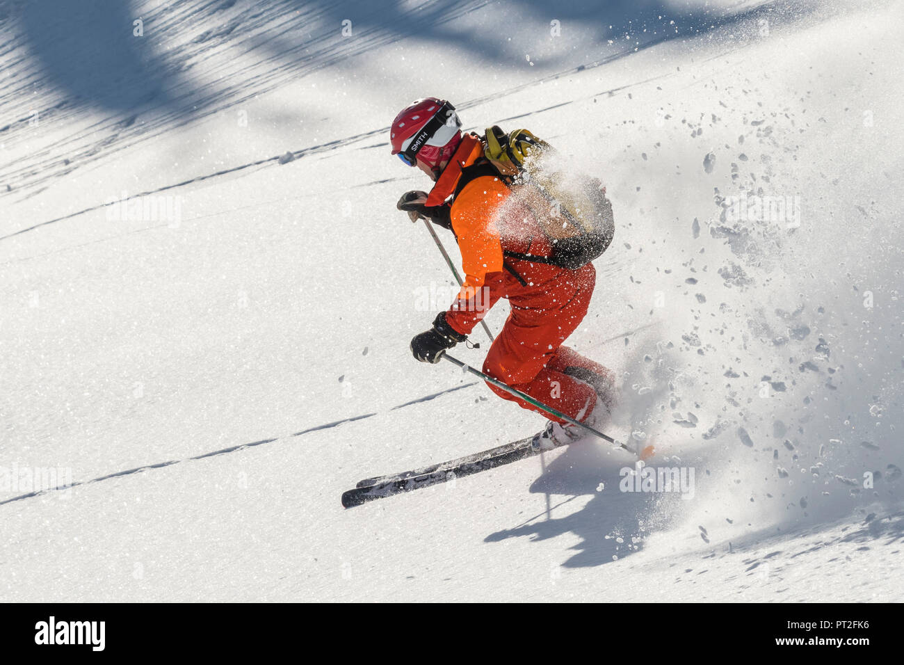 Canada, Canadian Rockies, British Columbia, Selkirk and the Purcell Mountains Heliskiing, skier, - Stock Image
