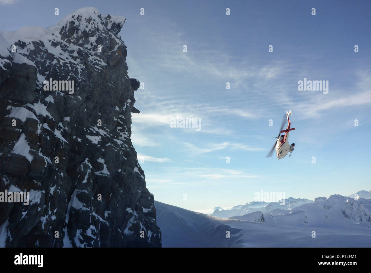 Canada, Canadian Rockies, British Columbia, Selkirk and the Purcell Mountains Heliskiing, helicopter, - Stock Image
