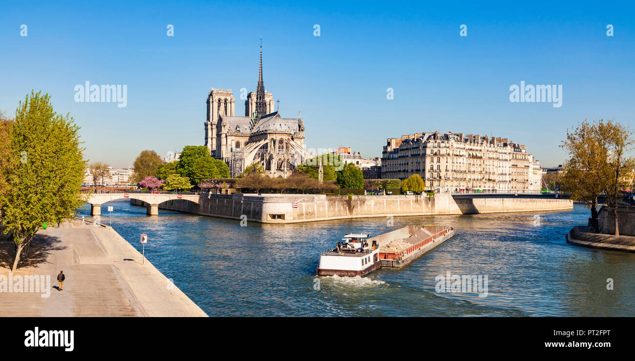 France, Paris, Notre Dame Cathedral and fright ship on Seine river - Stock Image