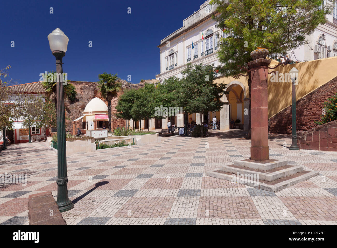 Square in front of the town hall, Silves, Algarve, Portugal Stock Photo