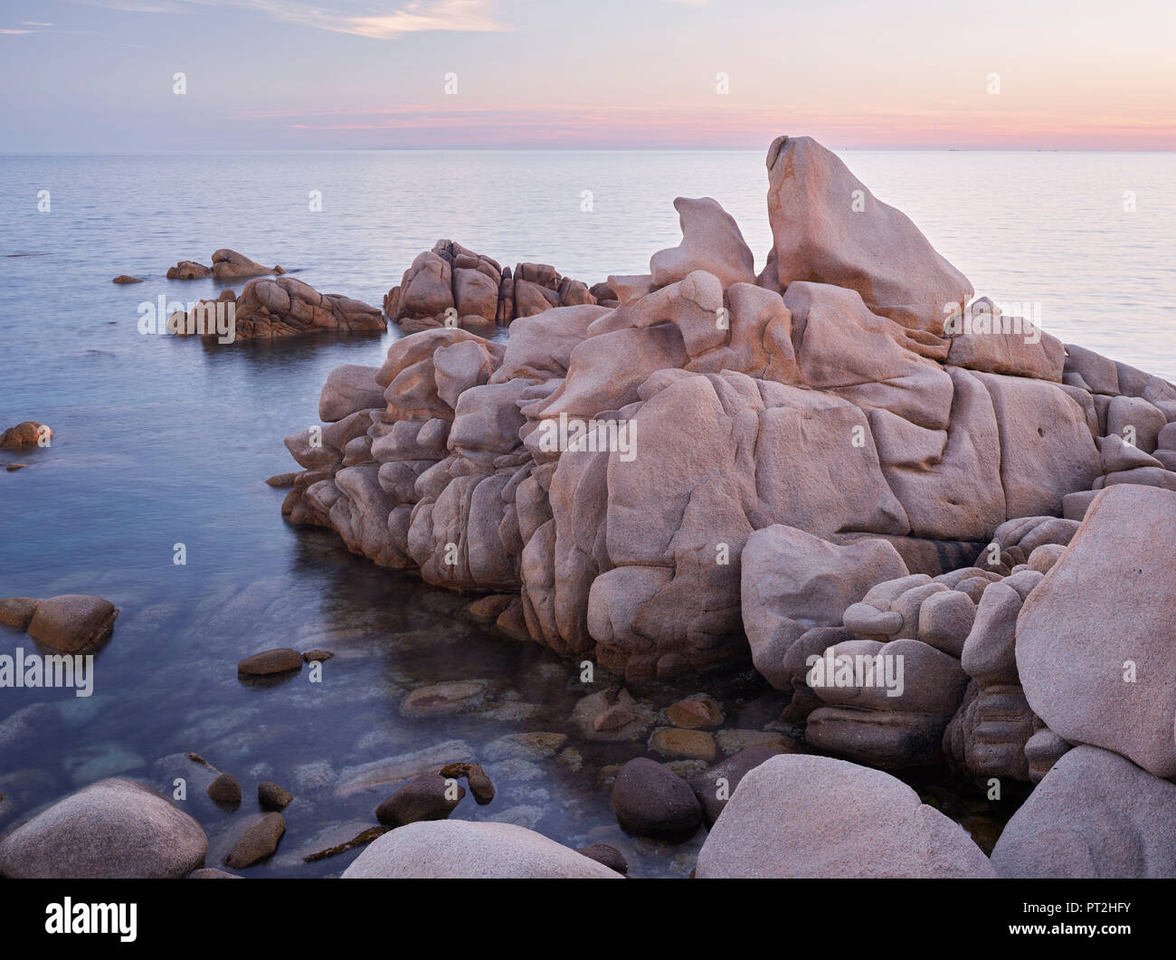 Rock formations in the Bruzzi nature reserve, near Pianottoli-Caldarello, Corse du Sud, Corsica, France - Stock Image