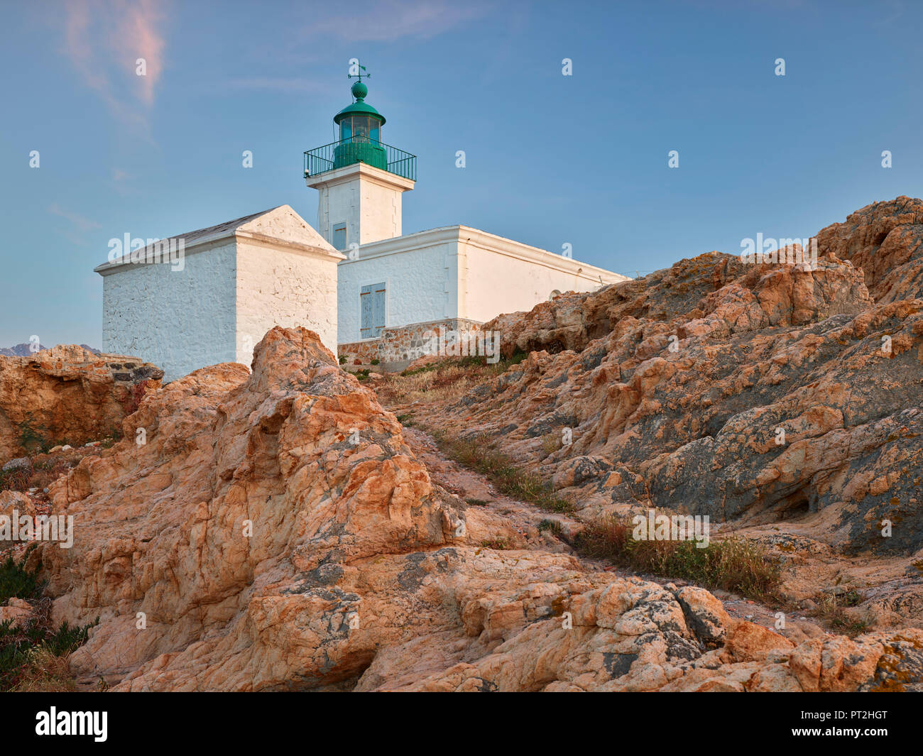 Lighthouse at L'Ile Rousse, Corsica, France - Stock Image