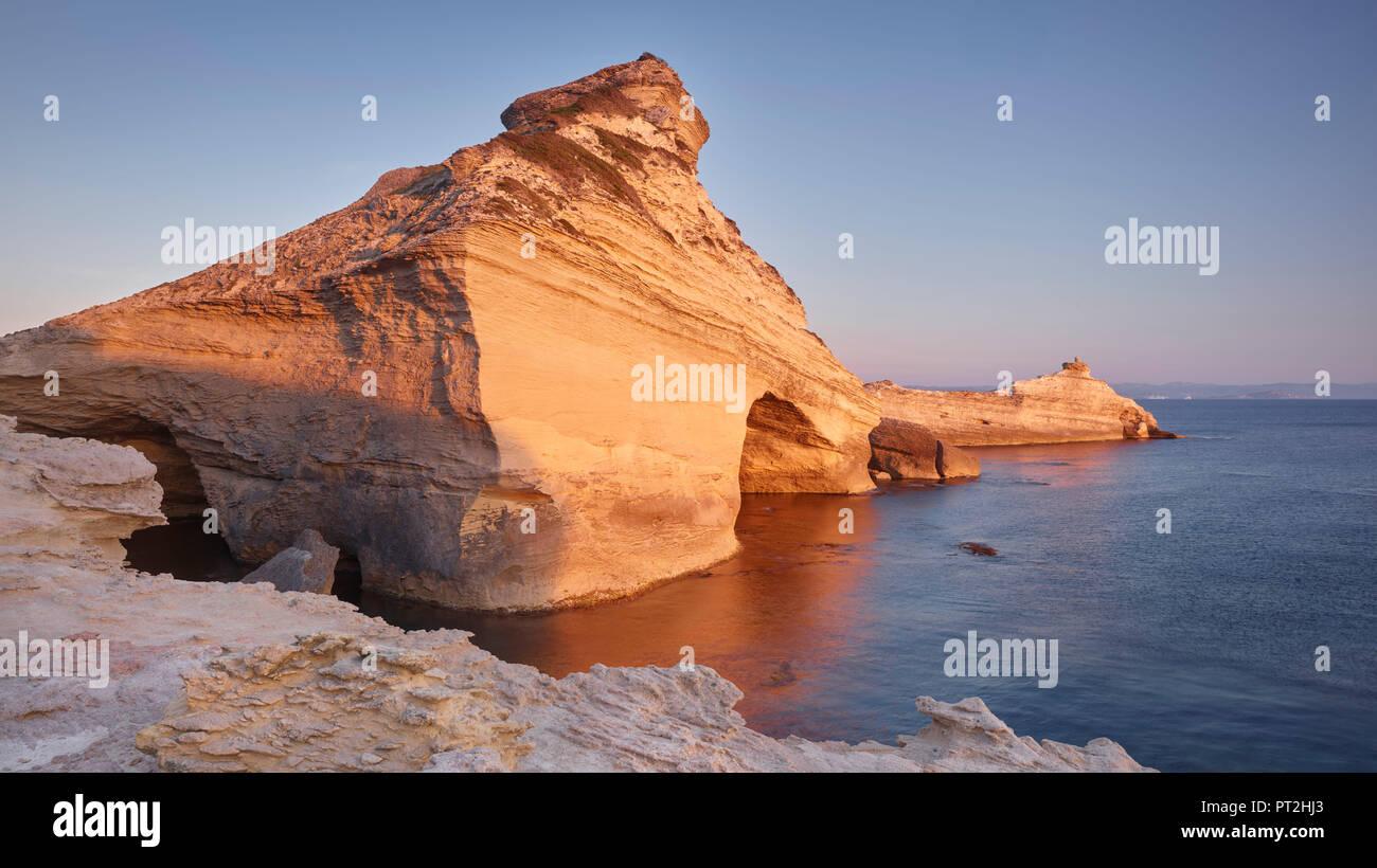 Sandstone formation at Capu Pertusato, Bonifacio, Corse du Sud, Corsica, France - Stock Image