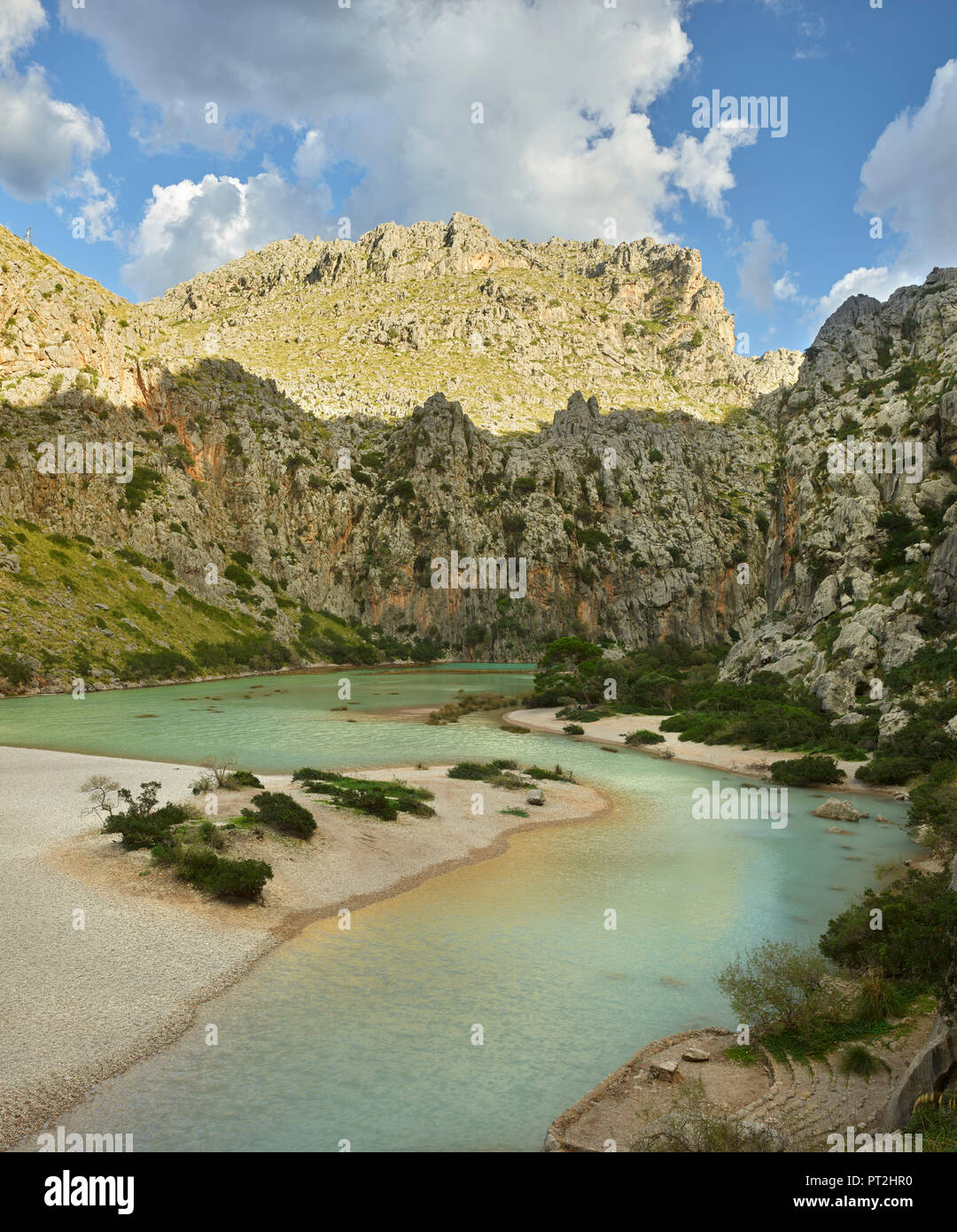 Torrent de Pareis, Sa Calobra, Tramuntana, Mallorca, Balearic Islands, Spain Stock Photo