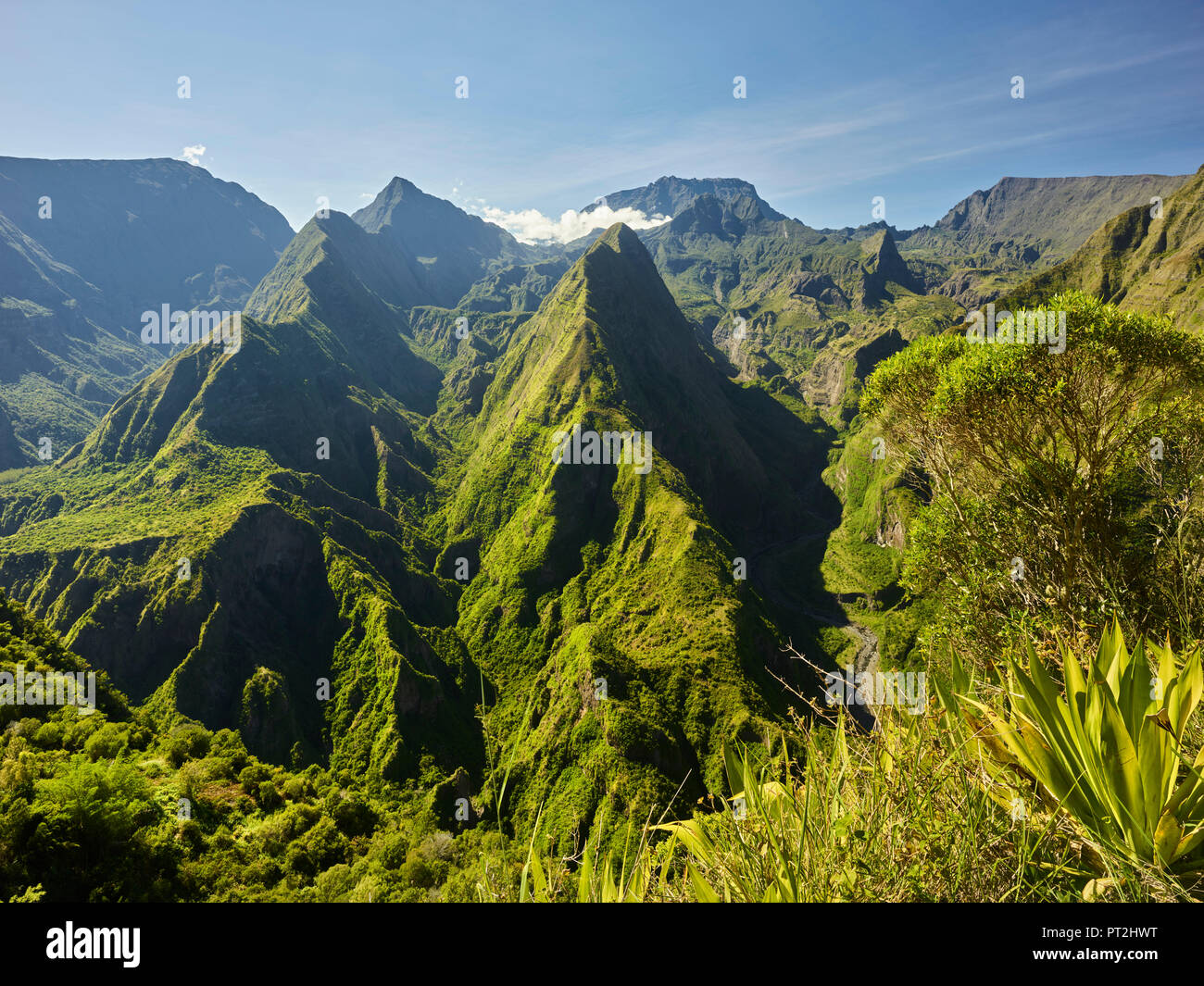 View from Cap Noir Viewpoint, Cirque de Mafate, Reunion, France - Stock Image