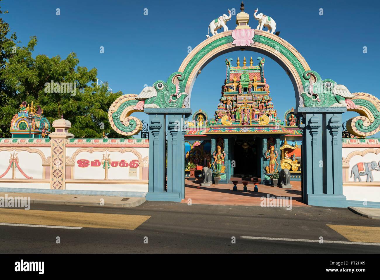 Hindu temple in rue Jaques Prevert, La Possession, Reunion, France - Stock Image