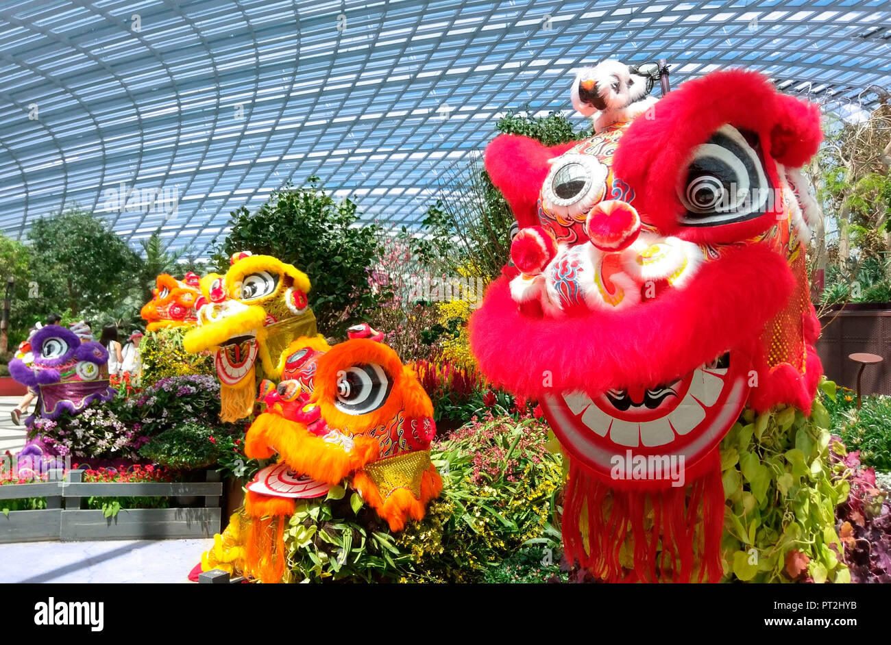 Chinese dragon figures in the Flower Dome in the 'Gardens by the Bay' in Singapore - Stock Image