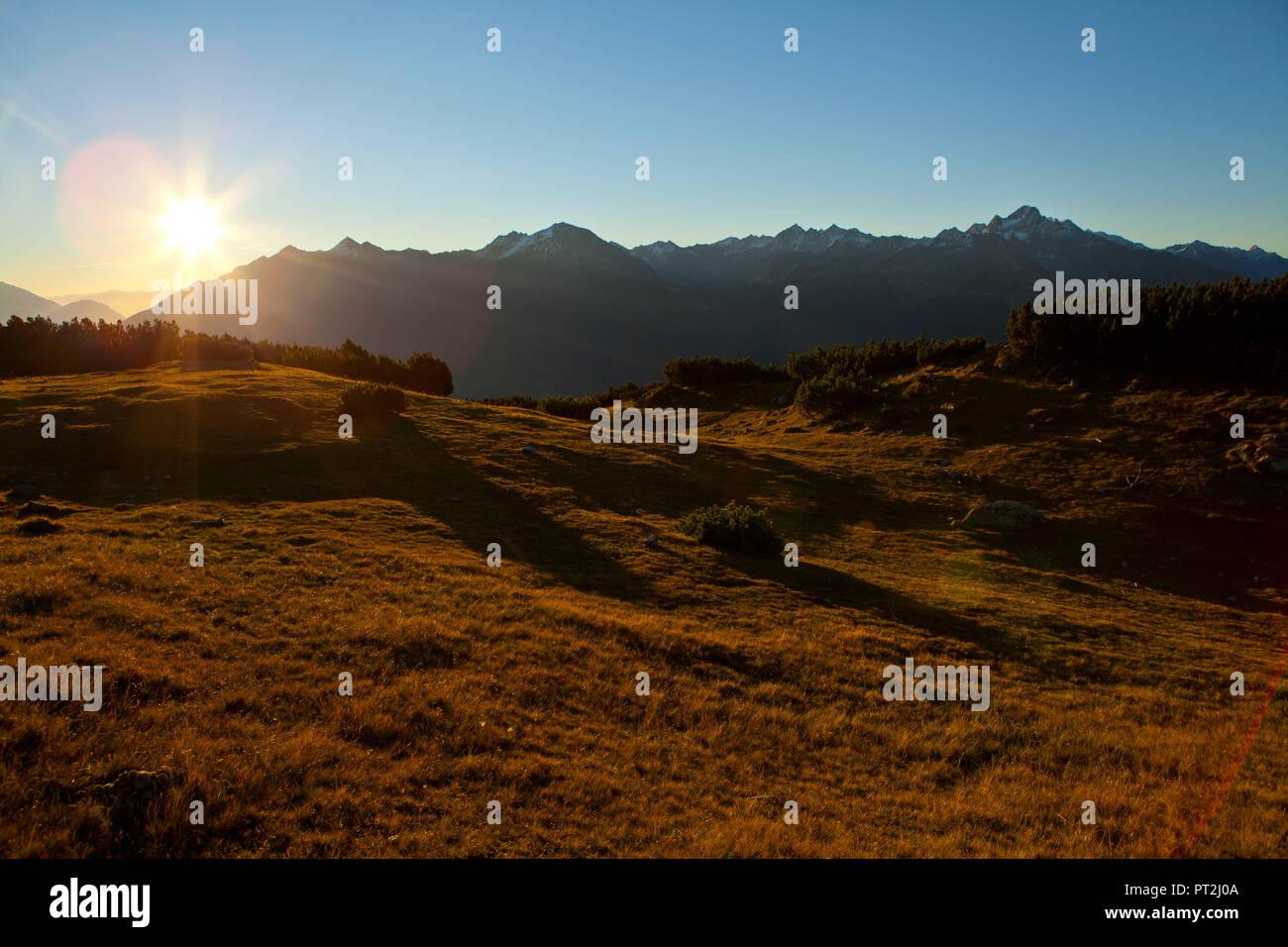 Austria, Tyrol, Obsteig, sunrise on the Simmering - Stock Image