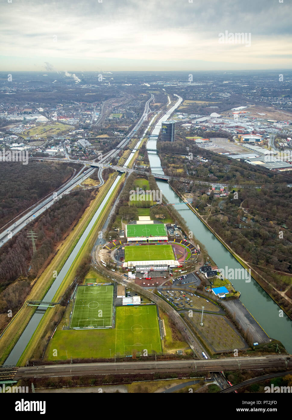 Stadium Niederrhein with new grandstand building and SSB site, between Emscher and Rhein-Herne Canal, Oberhausen, Ruhr Area, North Rhine-Westphalia, Germany - Stock Image