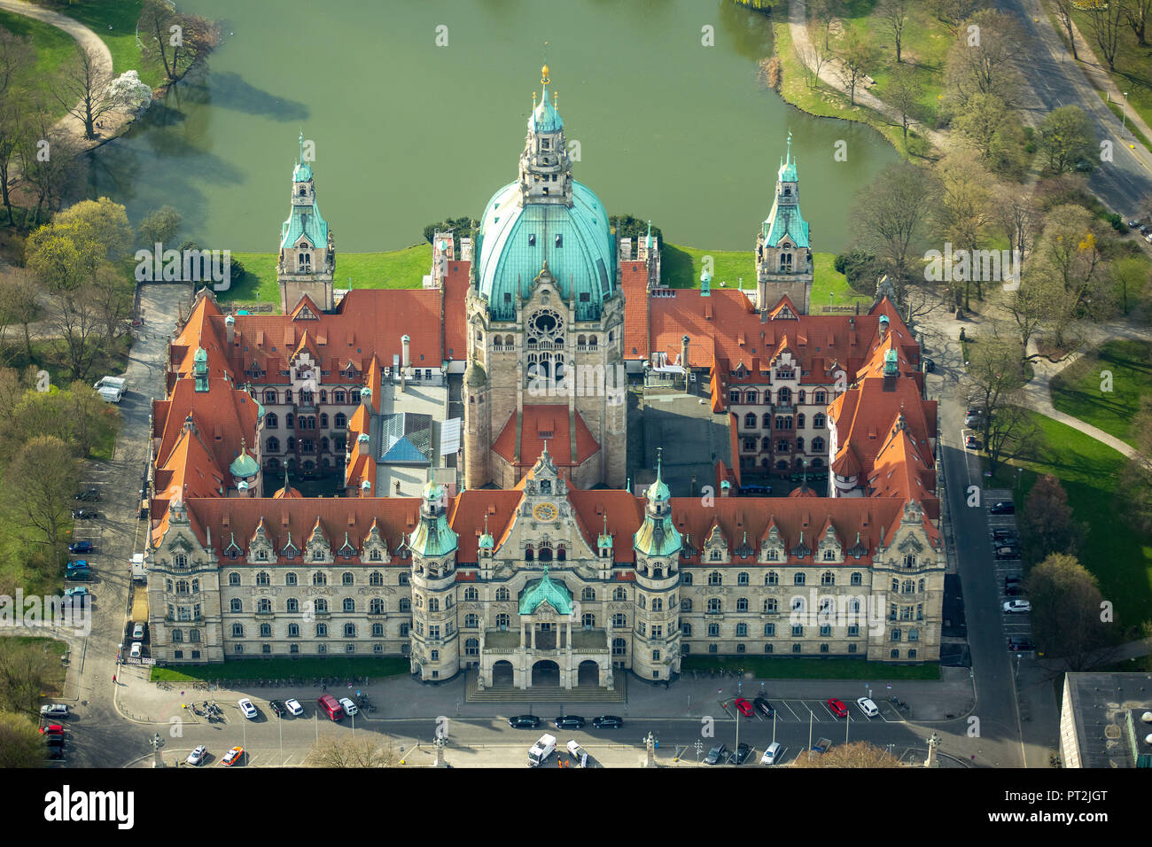New Town Hall, Hanover's landmark, Wilhelmine, castle-like magnificent building in eclectic style, city administration, town hall cupola, Hannover, state capital, Lower Saxony, Germany - Stock Image