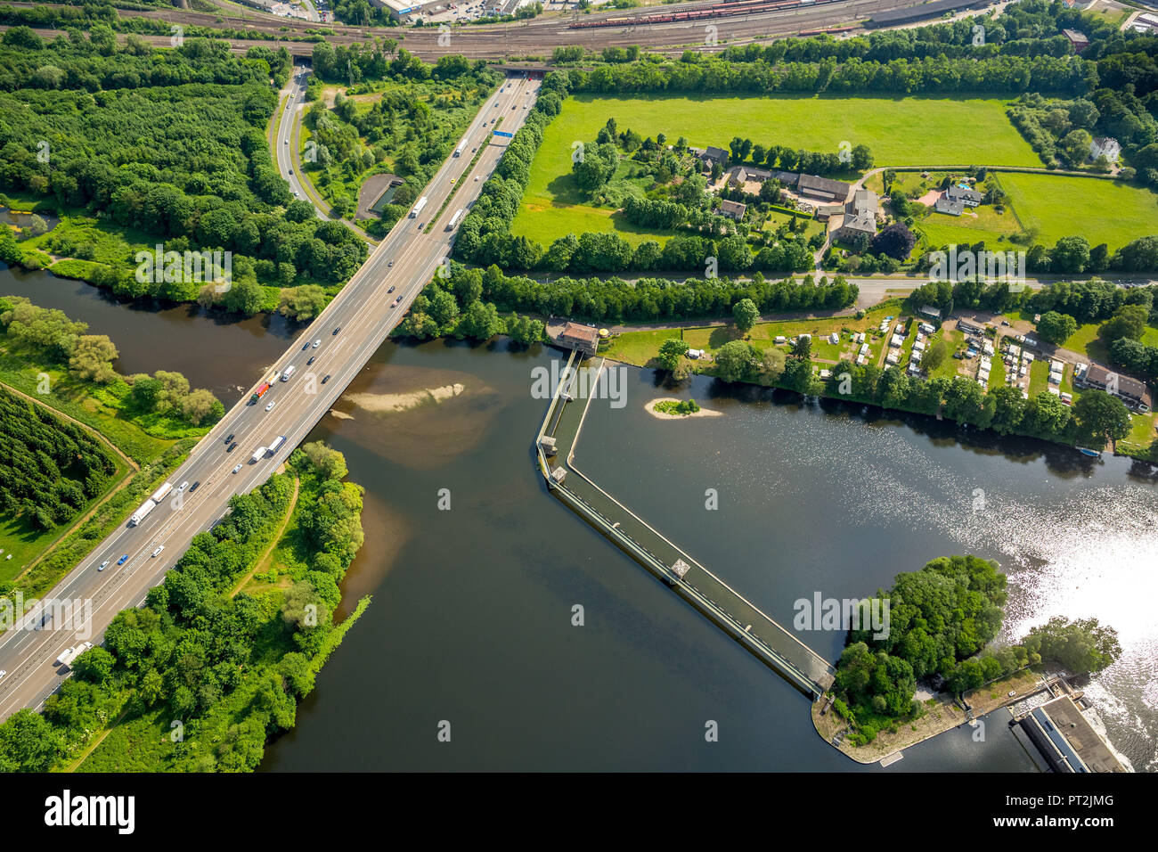 Ruhrtal, Hengsteysee, Volme - mouth, in this area new Volme bridge is to be developed, Hagen, Ruhr area, North Rhine-Westphalia, Germany - Stock Image