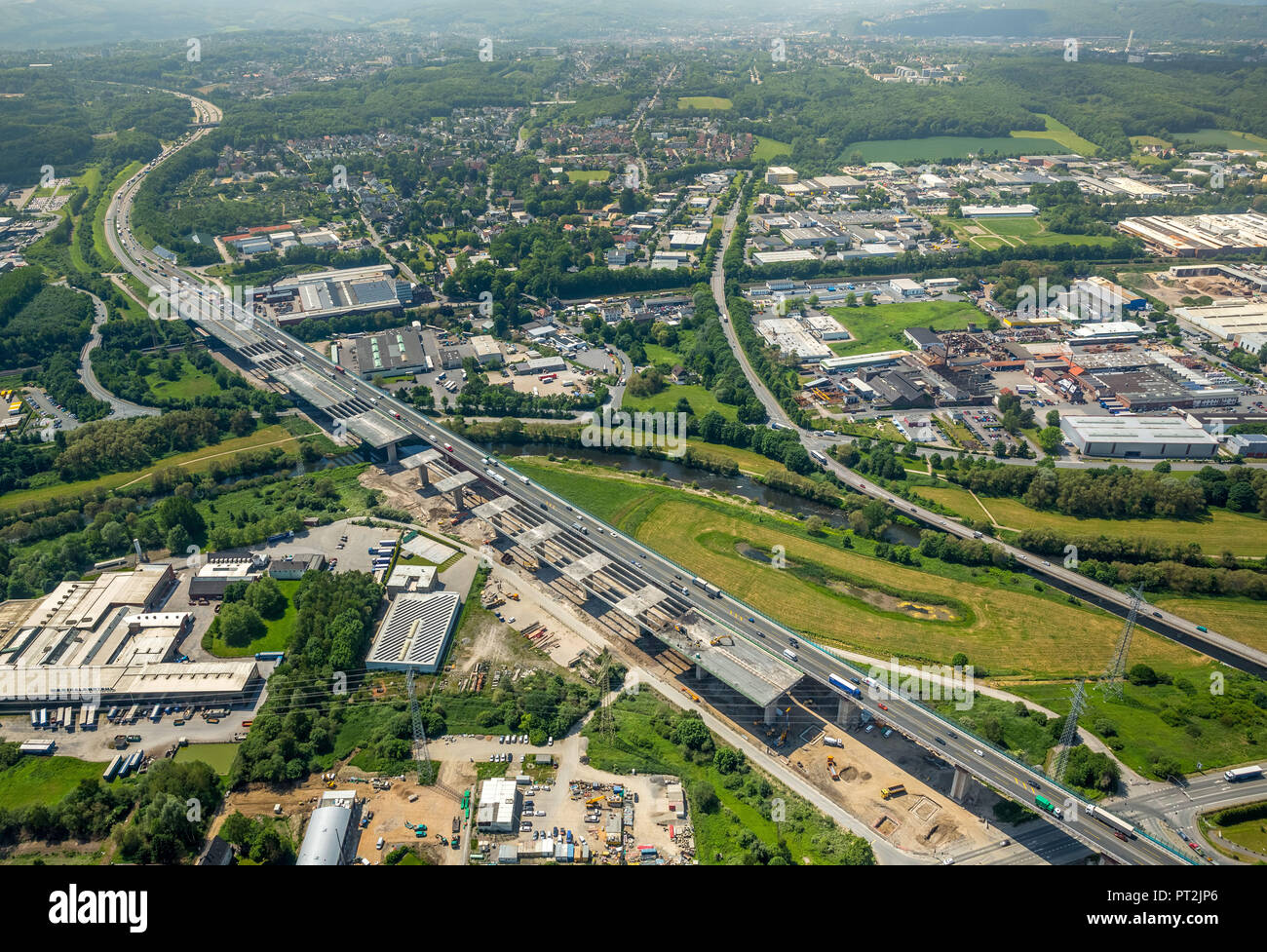 Demolition and rebuilding of the Lenntal bridge, Sauerland line, motorway A45, traffic infrastructure, construction work, Hagen, Ruhr area, North Rhine-Westphalia, Germany - Stock Image