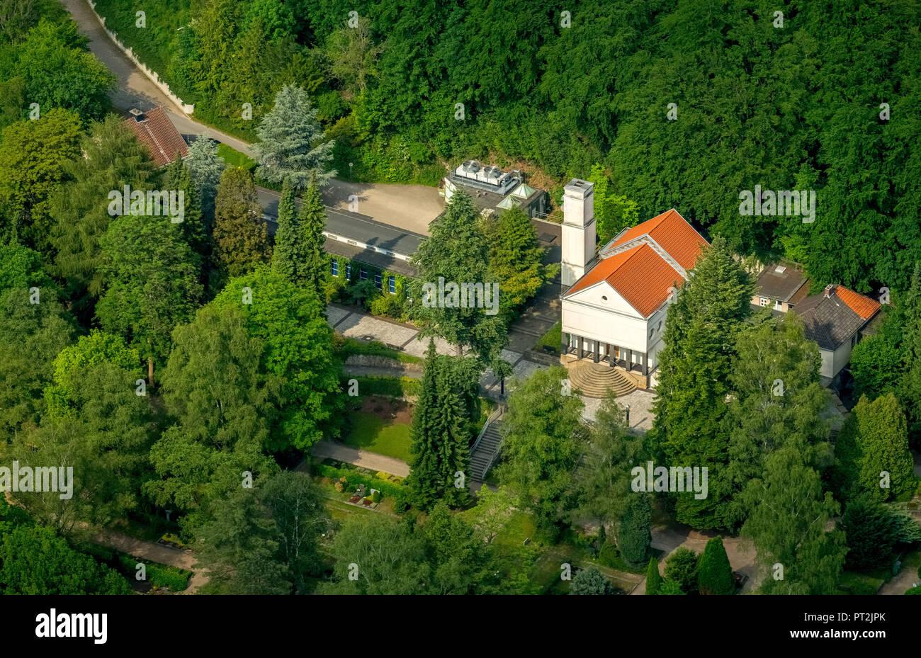 Eduard Mueller crematorium, Delstern, monument, crematorium Hagen, Hagen, Ruhr area, North Rhine-Westphalia, Germany - Stock Image