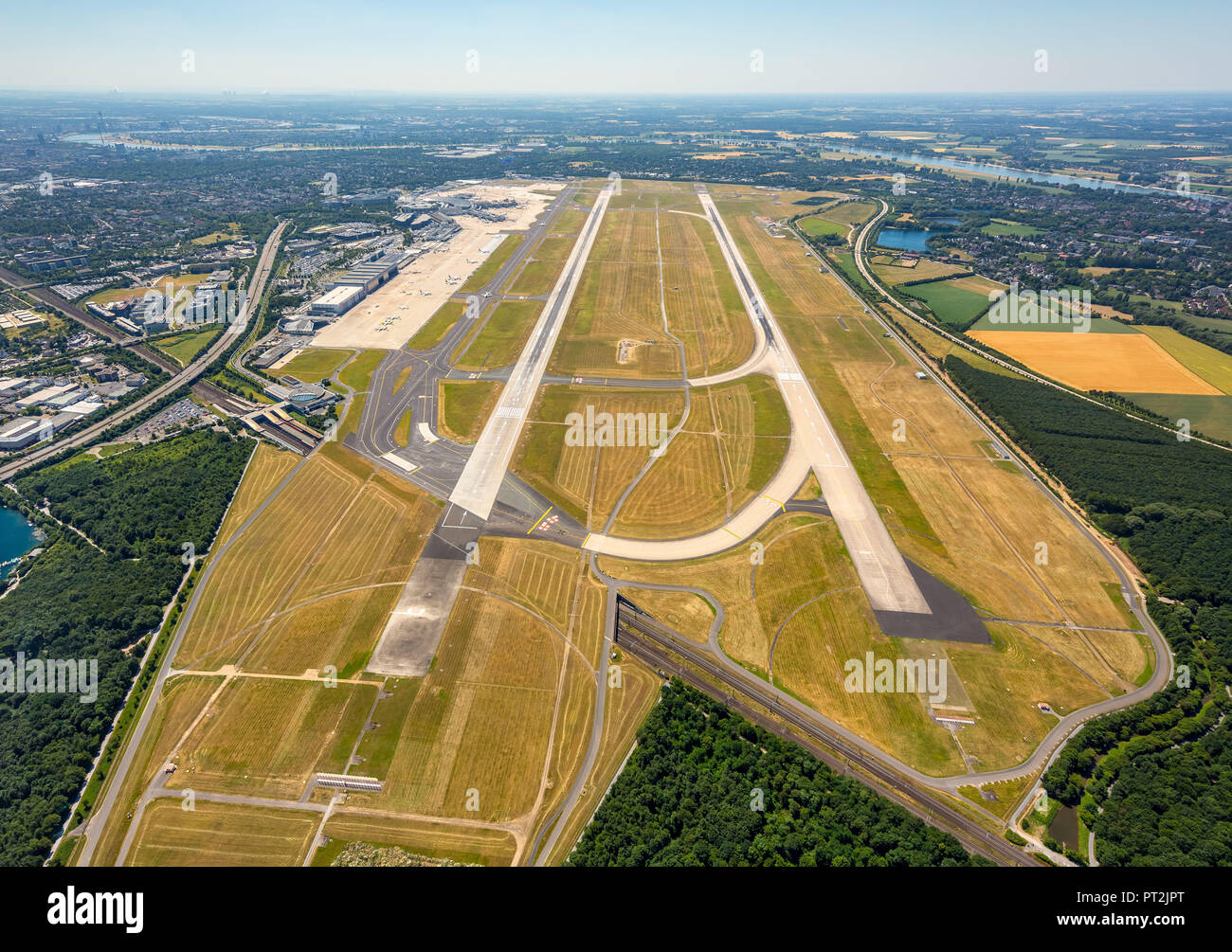 Dusseldorf Airport, Overview, Runway Dusseldorf, Runways 23L and 23R, Dusseldorf, Rhineland, North Rhine-Westphalia, Germany - Stock Image