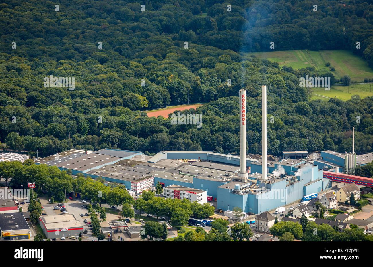 Rockwool BV / Rockpanel Group, smokestacks, emission, Gladbeck, Ruhr area, North Rhine-Westphalia, Germany - Stock Image