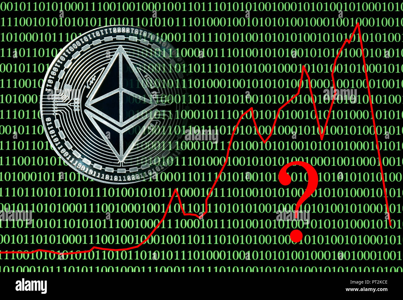 Symbolic image stock price digital currency, silver physical coin Ethereum in front of digital binary code - Stock Image