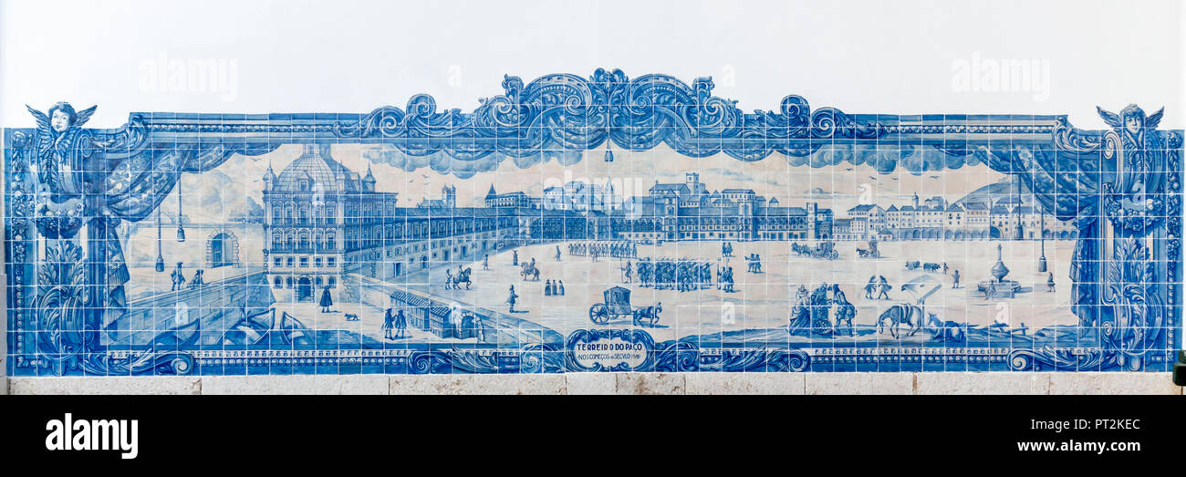 Mural of blue tiles, azulejos - Stock Image
