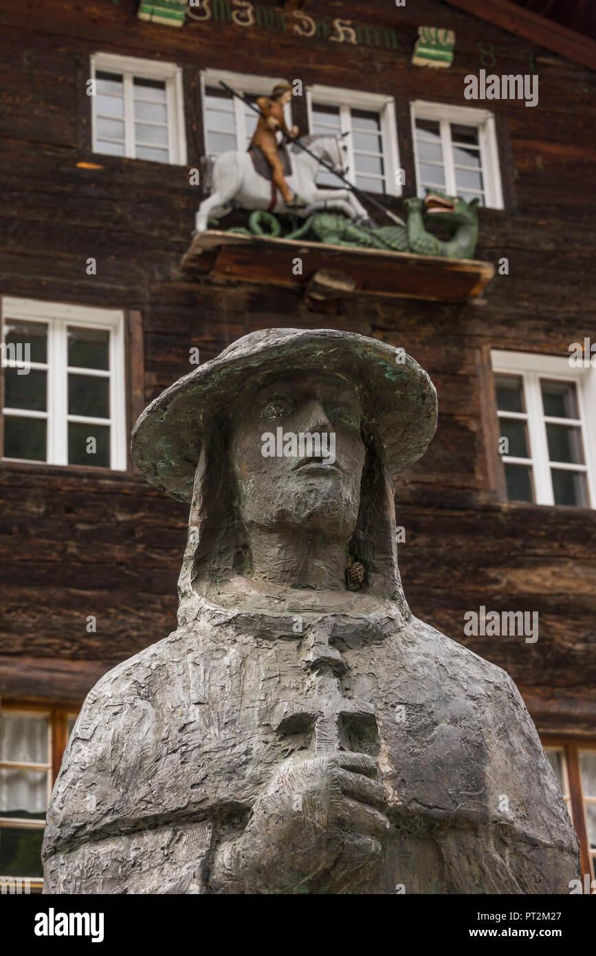 Switzerland, canton Valais, district Goms, Ernen, St. George house, sculpture, Matthäus Schiner Stock Photo
