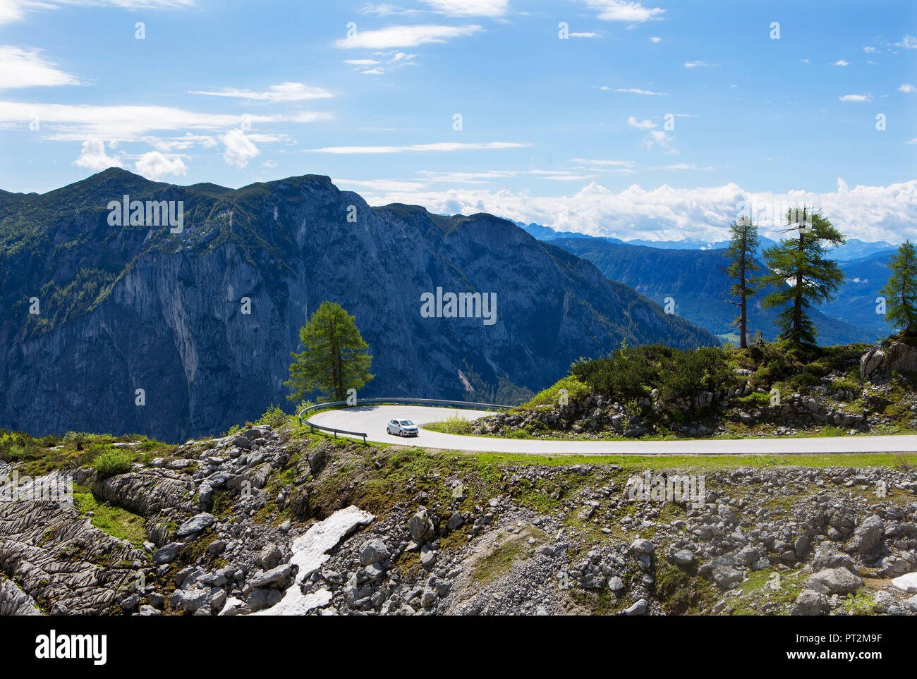 Austria, Styria, Salzkammergut, Ausseerland, Altaussee, View from the Loser Panoramastraße to Ausseerland and the Trisselwand - Stock Image