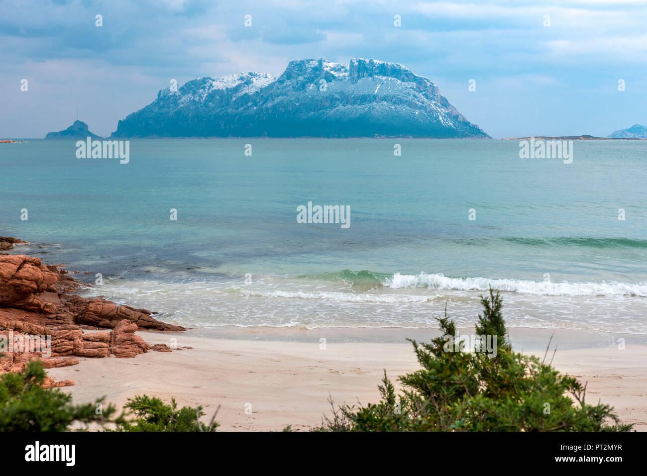 Snow on Tavolara island, Olbia Tempio Province, Sardinia, Italy, Europe, - Stock Image