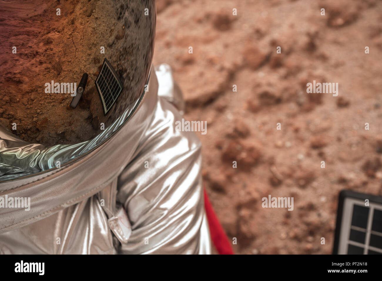 Reflection of the earth on space hat - Stock Image