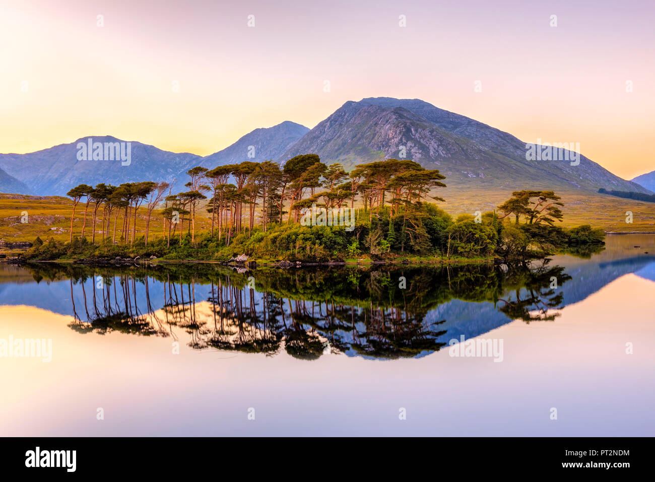 Connemara, County Galway, Connacht province, Ireland, Europe, Lough Inagh lake with Twelve Bens mountain and Pines Island, - Stock Image