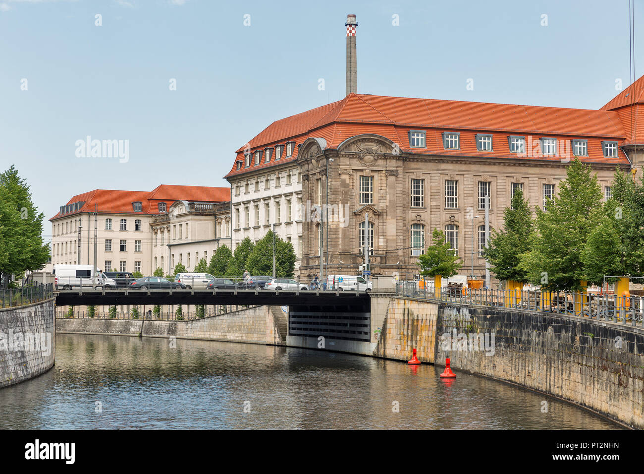 BERLIN, GERMANY - JULY 13, 2018: Bridge over Westhafenkanal close to Federal Ministry for Economic Affairs and Energy building on Invalidenstrasse str Stock Photo